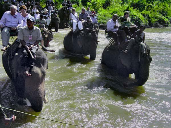 Durchquerung des Flusses auf Elefanten