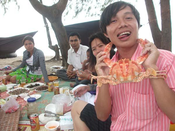 Krabbe am Hals
