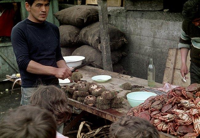 Ein Mann öffne Seeigel, dessen 'Zungen' gegessen werden.