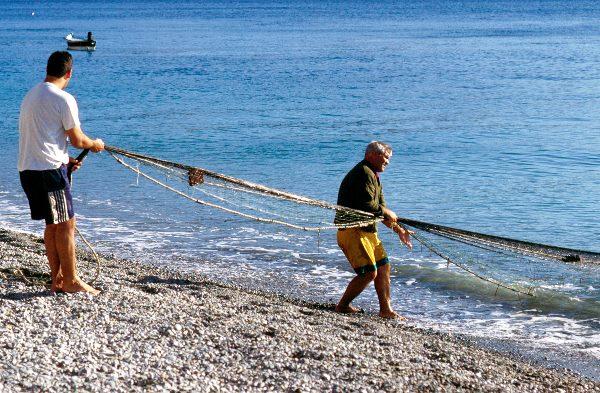 Beim Einholen der Netze helfen vorbeikommende Spaziergänger mit.